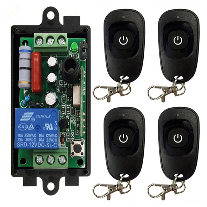 Ac 220 v 1ch 1 ch sem fio rf controle remoto interruptor de luz 10a relé saída módulo receptor de rádio + um-botão transmissor preto