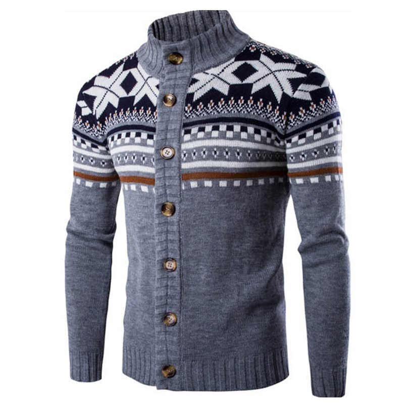 Winter Vintage Men Sweater Cardigan Knitted Warm Long Sleeve Printed Button Sweaters Christmas Men Pullovers 2019 Streetwear