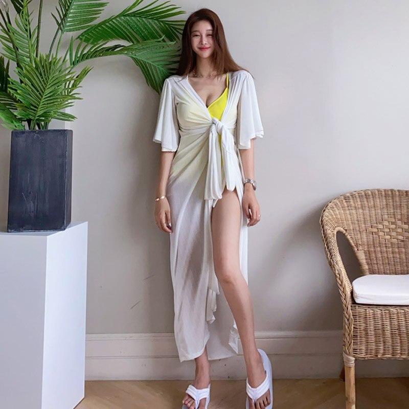 Женское летнее пляжное макси Повседневное платье с v-образным вырезом и разрезом, Сексуальные вечерние платья