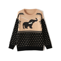 Stylish Long Sleeve Sweater Women Sequined Elephant Coconut Tree Jacquard Pullover Tops Autumn Winter Female Clothes TA1080