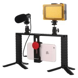 Vlogging Live Broadcast Selfie Light phone Video Rig Handle Stabilizer Aluminum Bracket Kits with Microphone + Tripod Mount+head