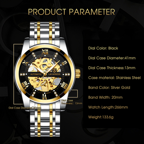Lavaredo Top Brand Luxury Retro Stainless Steel Men Watch Sport waterproof  Automatic Mechanical Skeleton Watches Cool Design A5 Lahore