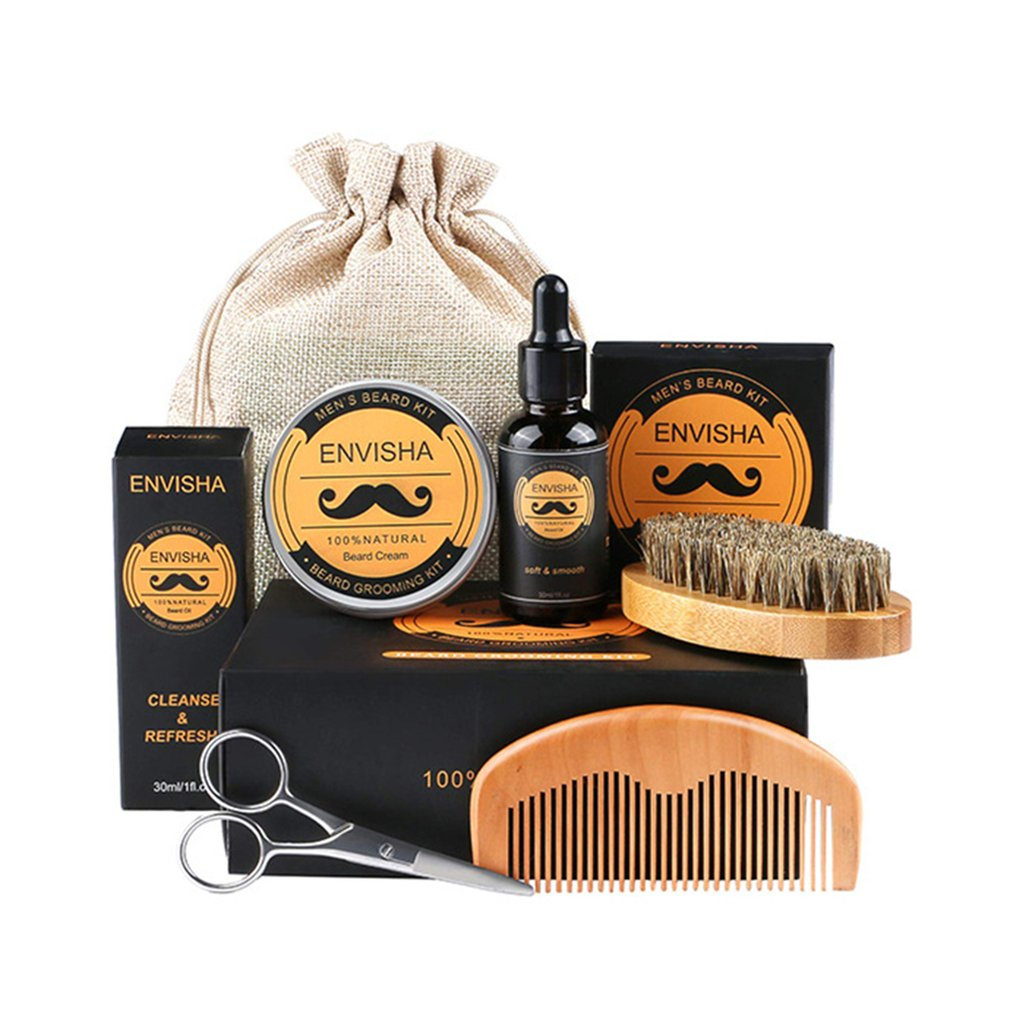 Men Beard Care Suit Bearded Oil Beard Paste Comb Brush Sack Scissors Six Sets Of Beard Suit Any Skin