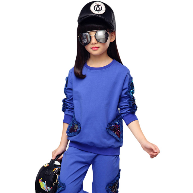 Ragazze Vestiti di Sport Set Paillettes Felpa + Pants 2 Pcs Autunno Set Per Le Ragazze Adolescenti Vestiti di Inverno Dei Capretti Per Le Ragazze 4 6 8 anni