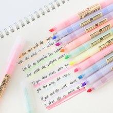10 stücke Mild Farbe Highlighter Pen Transparent Leuchtstoff Marker Liner für Papier Fax Kopie Hervorhebung Zeichnung Büro Schule F129