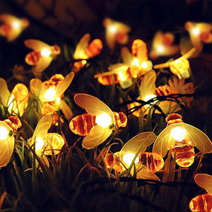 LED Solar Bee String Lights Outdoor Solar Power LEDs Strings Waterproof Decors Lamp Garden Christmas Holiday Decor Outdoor