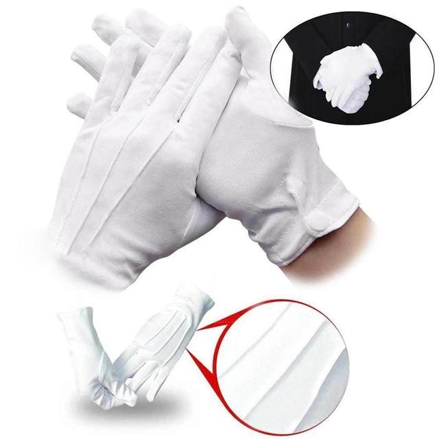 1 Pair White Gloves Thin Section Driving Security Plus Etiquette Work Inspection Protective Quality Wenwan Button Gloves Lo S1J6
