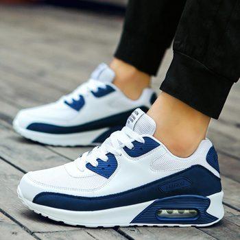 Duże rozmiary letnie męskie buty do biegania męskie trampki damskie buty sportowe męskie buty sportowe męskie buty do tenisa białe niebieskie E-230 tanie i dobre opinie HAIMAITONG Siateczka (przepuszczająca powietrze) Buty żeglarskie CN (pochodzenie) Lato RUBBER Sznurowane Dobrze pasuje do rozmiaru wybierz swój normalny rozmiar