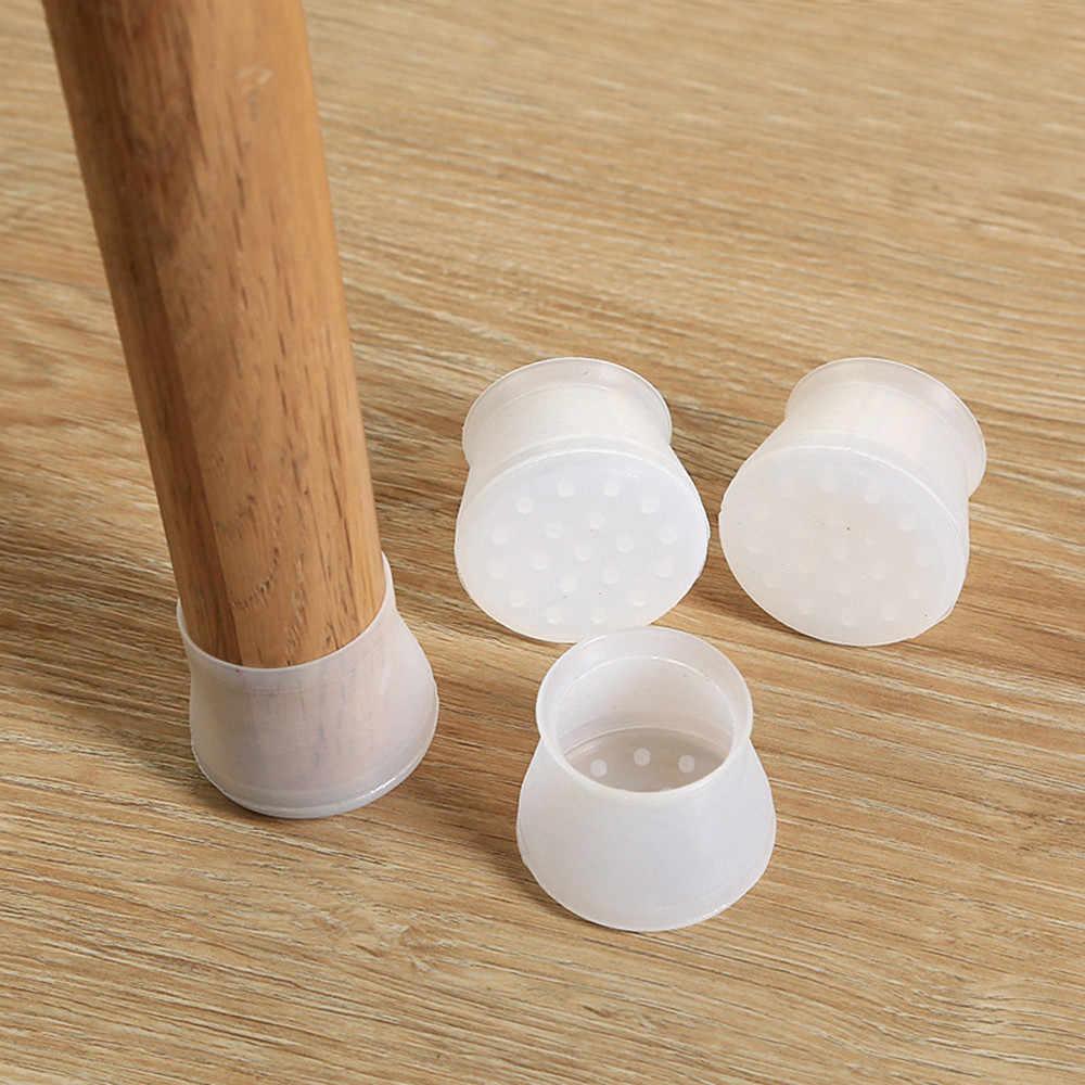 4 Uds. Gorros de pierna de silla de silicona almohadillas para pies cubiertas de muebles para mesas calcetines protectores de piso de fondo redondo antideslizante tazas de diámetro