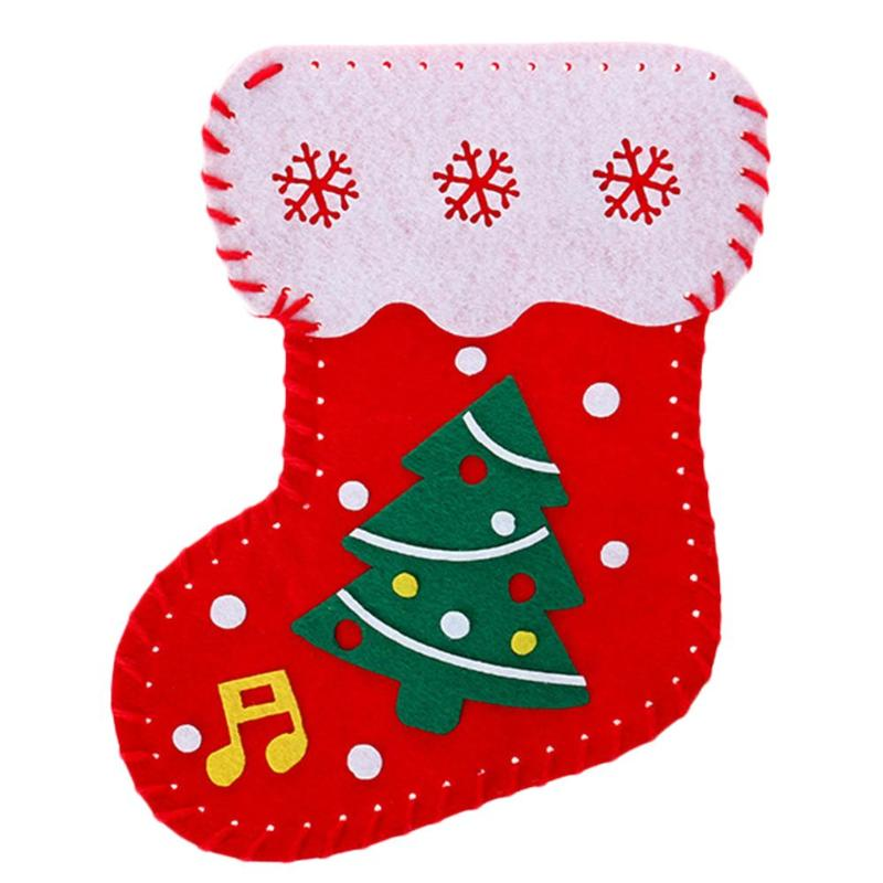 Christmas Stocking Decorations Candy Gift Cloth Bags Energy Saving Good Material Flexibility DIY Manual Children Toys