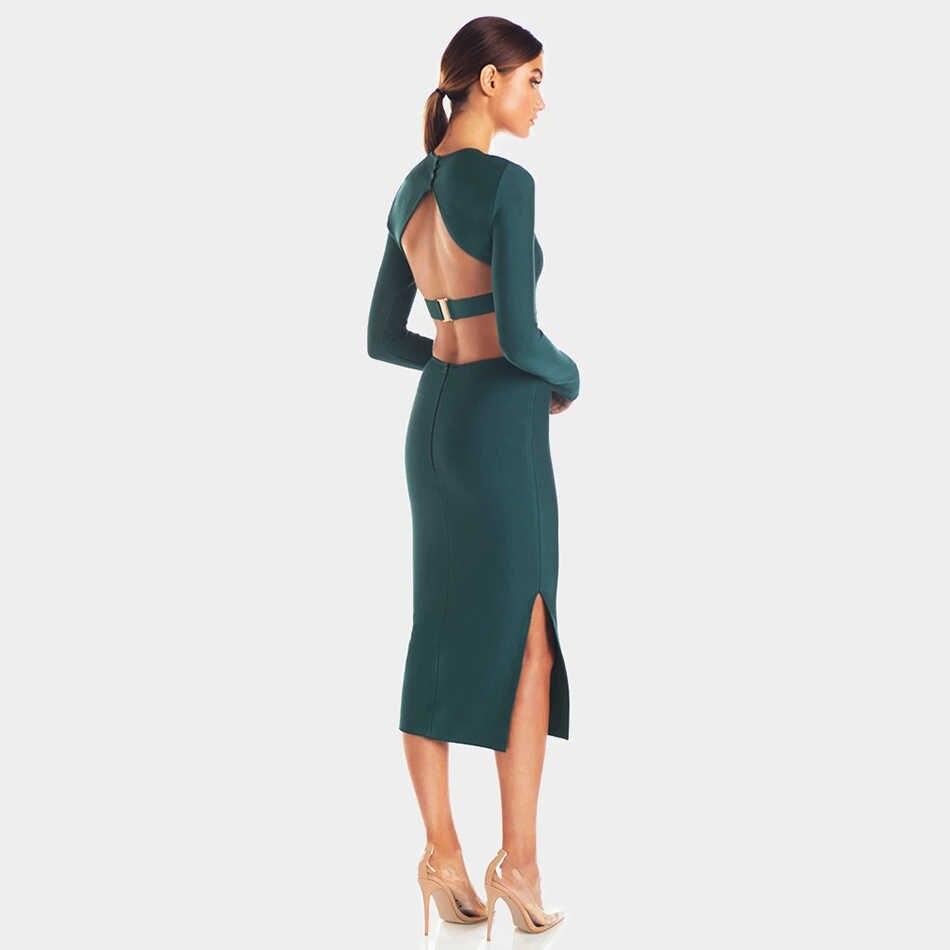 Adyce 2019 nuevo invierno de manga larga vestido de vendaje verde mujeres Sexy ahuecado sin espalda Club celebridad noche vestido de fiesta de la pasarela