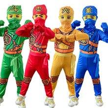 Ninjago Costume Cosplay Superhero Gloves Dress-Up Halloween Boys Children with Jumpsuit