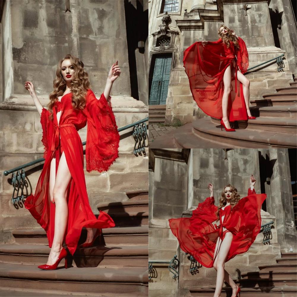 Sexy Red Night Robe With Belt 2020 Loose Long Sleeves Lace Women Bathrobe Top Quality Party Sleepwear Bridal Nightgown Robes