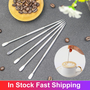 Useful Stainless Steel Cappuccino Latte Espresso Coffee Decorating Art Pen Fancy Coffee Cafe Mixer Kitchen Tool Latte Art Pen image