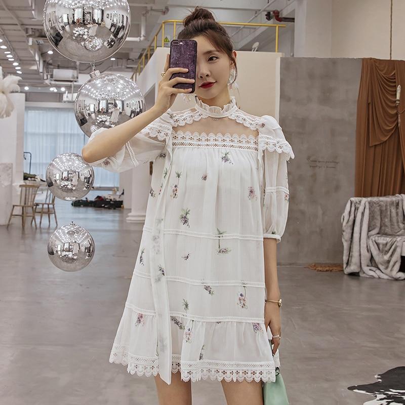 YIGELILA femmes doux mousseline de soie imprimé robe a-ligne o-cou lanterne-manches au-dessus du genou Mini mignon robe 64995 - 3