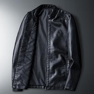 Image 2 - HENCHIRY 2019 新ファッションメンズスムーズオートバイフェイクレザージャケット少年長袖秋冬バイカーストリート黒コート