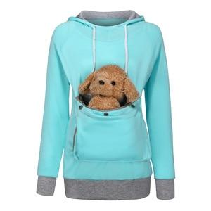 Hoodies Women Creative Cat Lovers Hoodie Kangaroo Dog Pet Sweatshirt Pullovers Solid Color Zipper Pockets Pullover Dropshipping