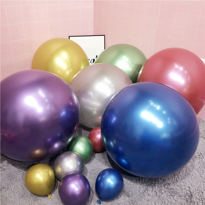 5/10/12/18inch Metallic <font><b>Balloon</b></font> Metal Chrome <font><b>Latex</b></font> <font><b>Balloons</b></font> <font><b>Big</b></font> round helium <font><b>balloon</b></font> Wedding Birthday Party Decorations Globos image