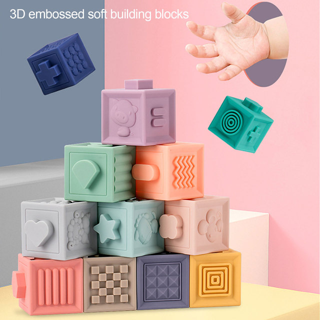 12Pcs Soft Baby Block Toddler Building Blocks High-quality PVC Materials Teething Chewing Bath Toy For 6 Months Baby 1