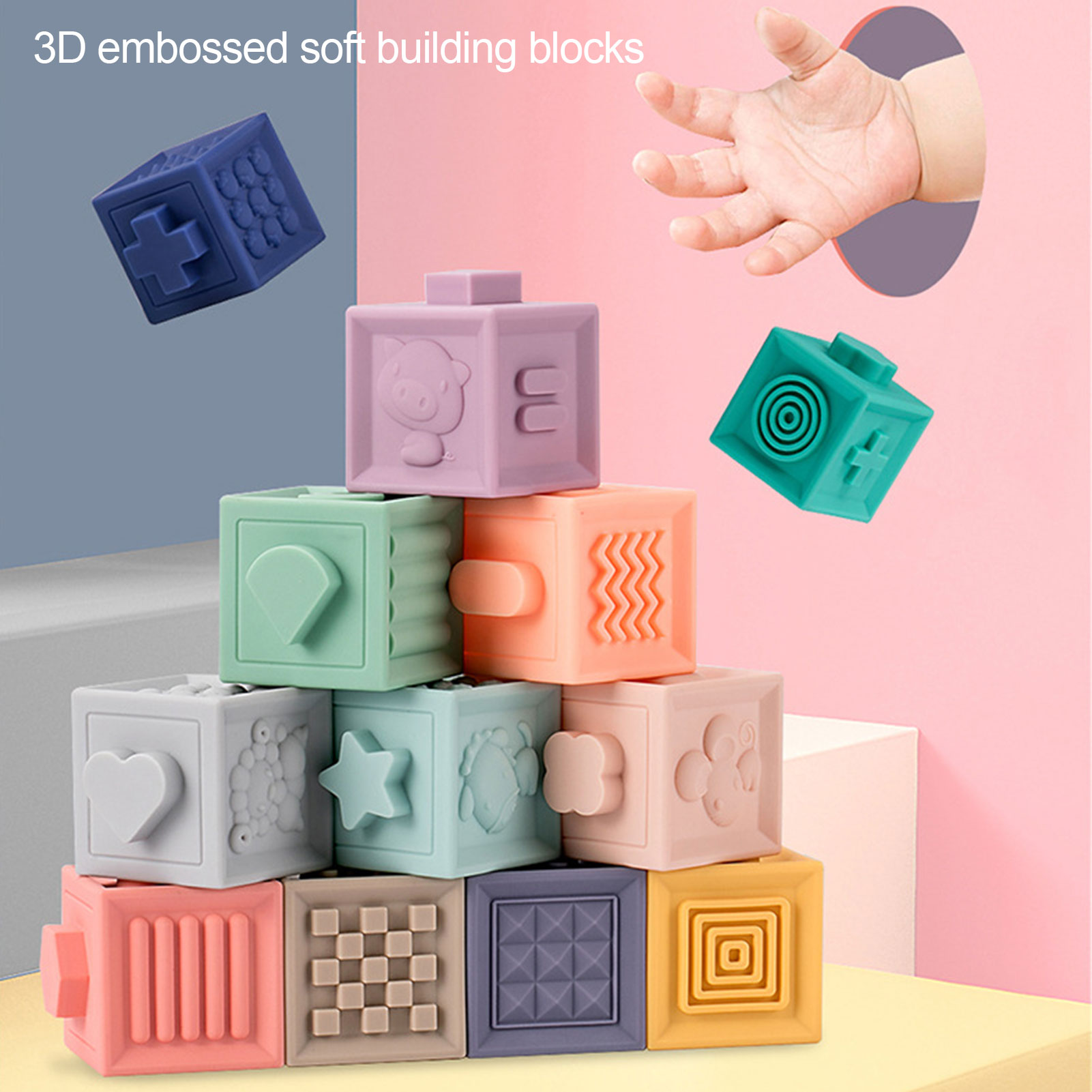 12Pcs Soft Baby Block Toddler Building Blocks High-quality PVC Materials Teething Chewing Bath Toy For 6 Months Baby