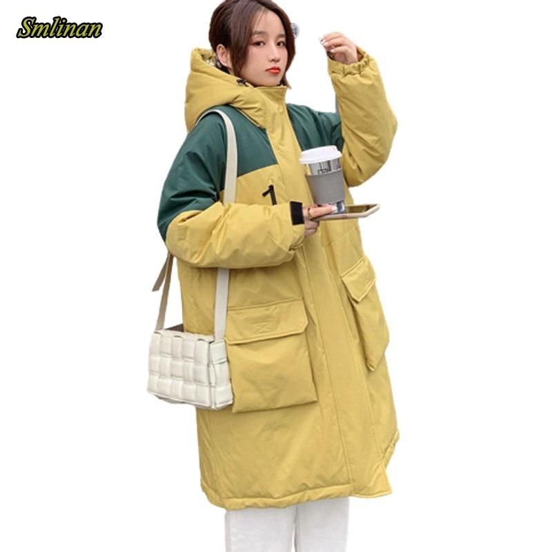 Smlinan 2020 зимняя длинная парка с капюшоном Mujer размера плюс, большой размер, свободная стеганая куртка для женщин, толстый пуховик из хлопка с капюшоном, пальто для женщин Парки      АлиЭкспресс