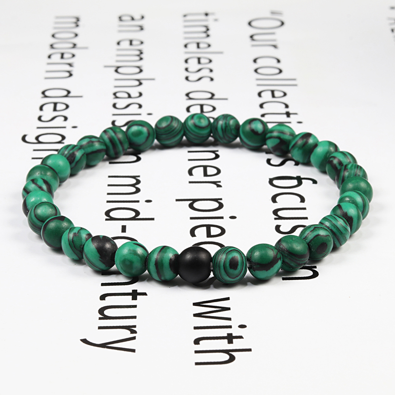 Couples Distance Beads Bracelet Classic Black Matte Green Malachite Bracelets Suitable Women Men Yoga Elastic Strand Jewelry 3