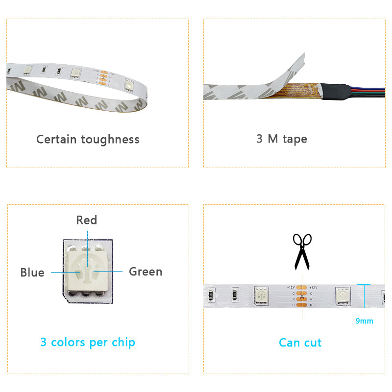 led strip 5050 dc12v led light flexible rope neon rgb flexible tape light with power supply+IR Remote For Home kitchen Christmas (5)