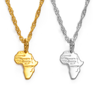Anniyo (1.3CM) Mini Africa Map Pendant and Necklace for Women Girls Kids Gold Color Jewelry Small Map African Wholesale #232506