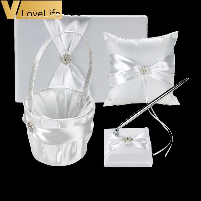4 unids/set blanco libro cinta arco diamantes de imitación de la boda anillo de ceremonia almohada decoración de canasta de flores de la pluma de boda suministrar