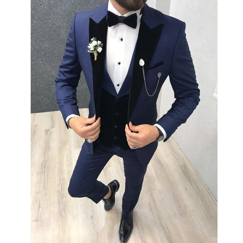 New Fashion 3 Pieces Mens Suits For Wedding Black Lapel Italian Groom Suits Slim Fit Wedding Tuxedos Jacket+Pants+Vest