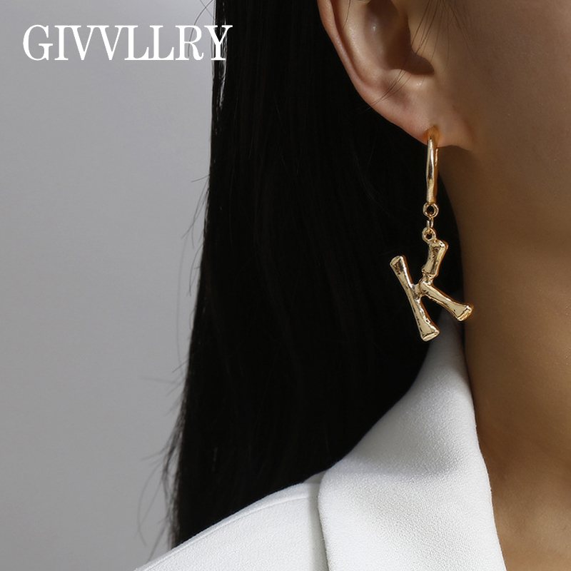 Letter U Initial bamboo gold earring initial gold earring,Alphabet Earrings Name Earrings. Letter Earrings bamboo earring