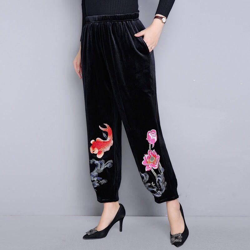 Women Pants Plus Size High Waist Velvet Pants Black Embroidery Ankle Length Trousers Loose Ladies Casual