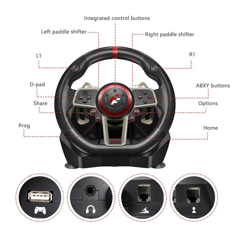 2021 Gamepad Controller Gaming Steering Wheel 900° Racing Video Game Vibration For PC/PS3/PS4/Xbox-One/Xbox 360/N-Switc 3