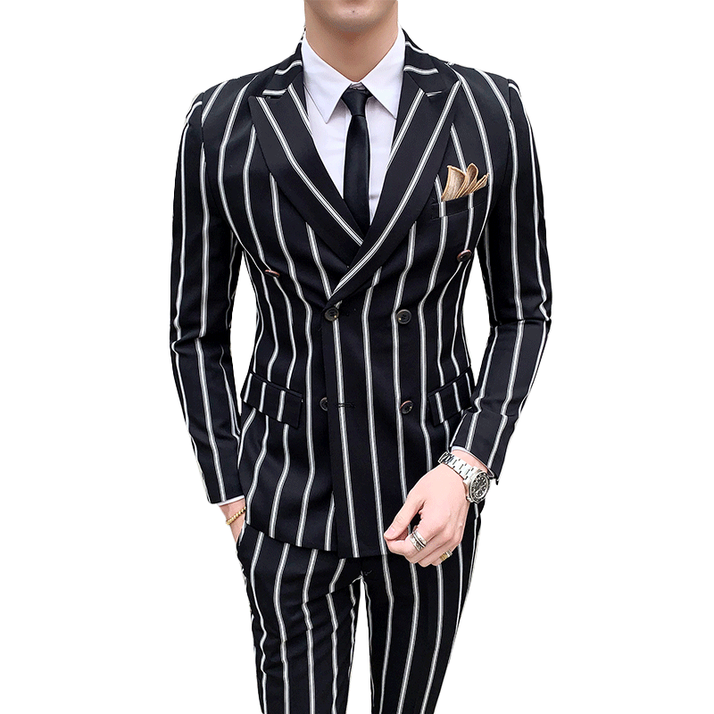 Luxury Men's Striped Wedding Casual Tuxedo Men's British Slim Suit 2pcs Men's Quality Business Social Club Suit Costume Homme