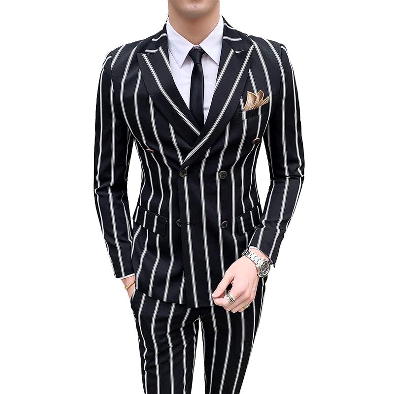 Luxury mens striped wedding casual tuxedo mens British slim suit 2pcs mens quality business social club suit Costume homme