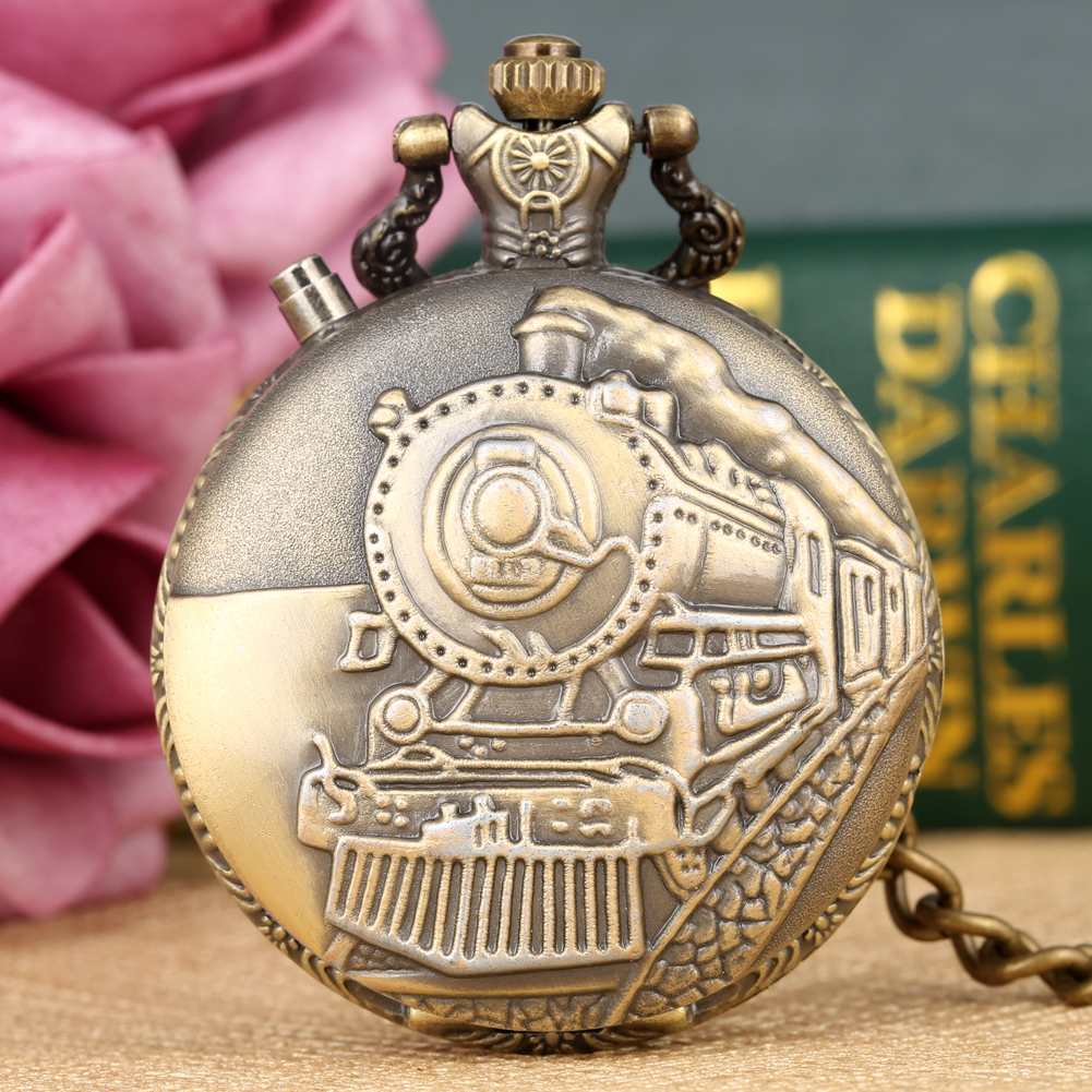 Bronze Running Steam Train Pocket Watch Men Bronze/Silver/Gold Case Quartz Watch Pendant Fob Chain Retro Clock Gift Reloj