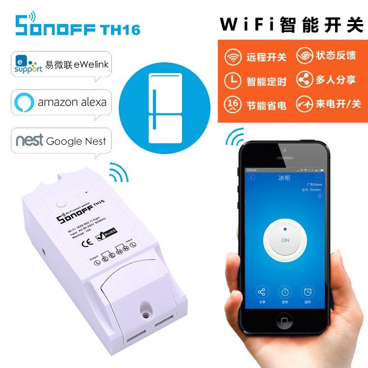 Sonoff Th16 WiFi Smart Temperature And Humidity Switch Temperature Controller Remote Controller Easy Micro