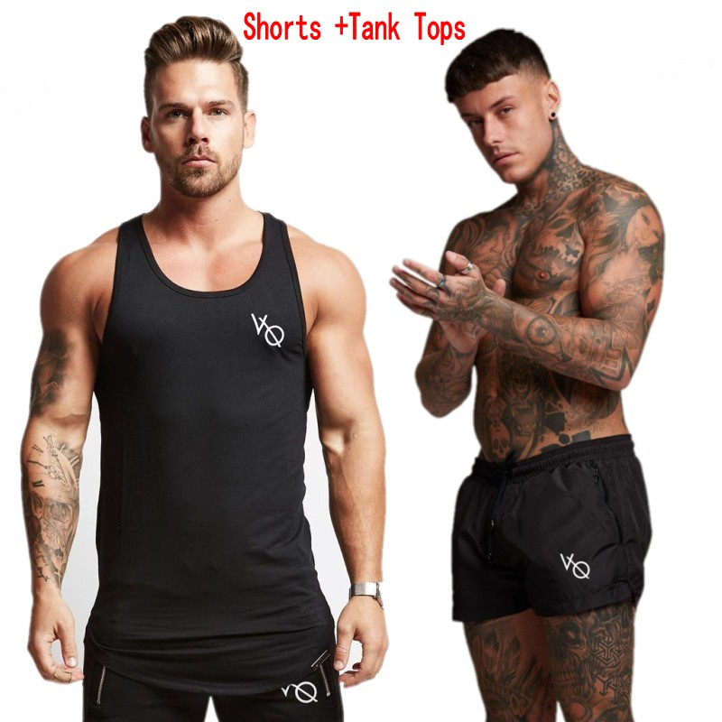 Brand Two Piece Set Men Short Sleeve T Shirt Cropped Top+Shorts Men's Tracksuits 2018 New Causal Sportswear Tops Short Trousers