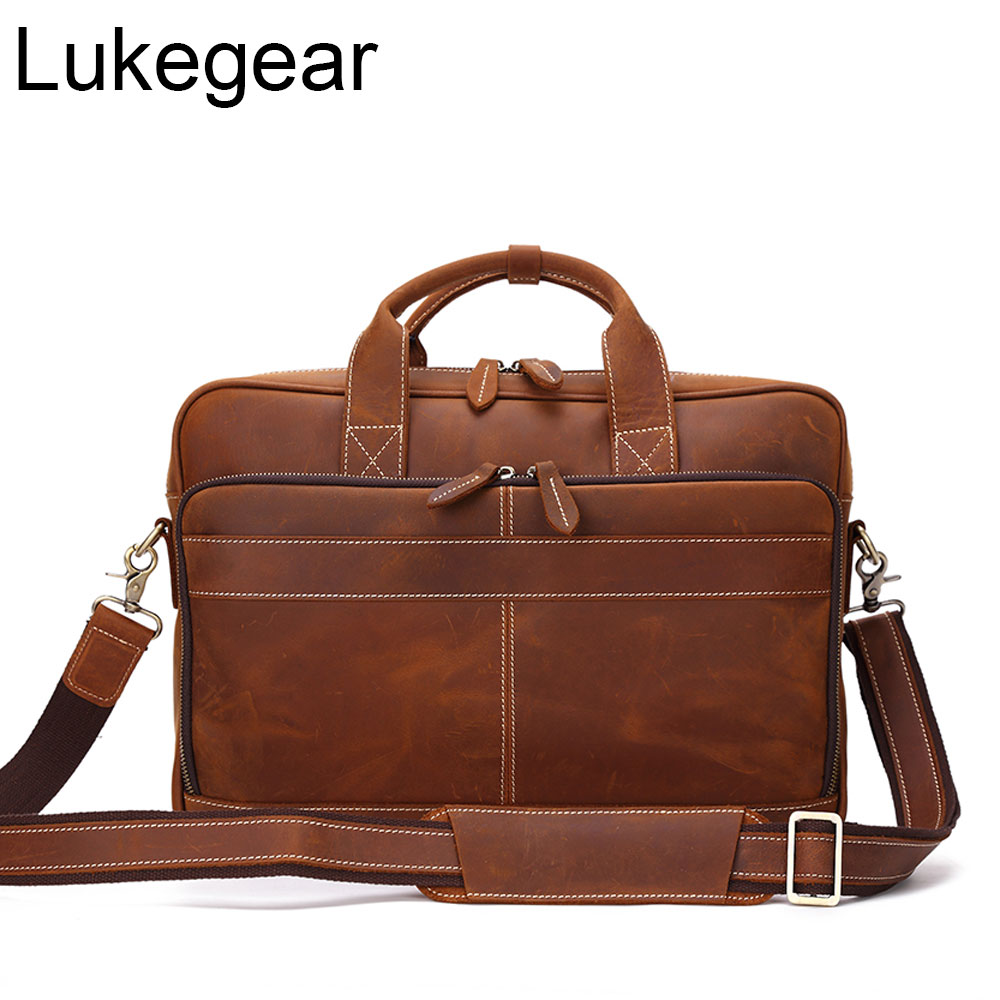 Lukegear 100% Genuine Leather Genuine Leather Bags For Men Durable Handmade Briefcases Computer Bags