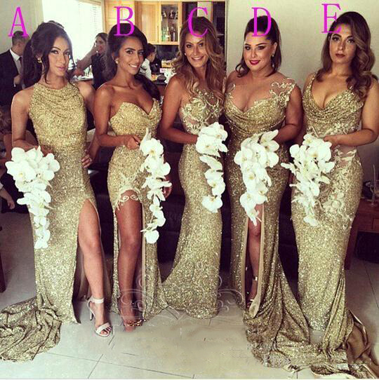 Sexy Sequins Bridesmaid Dresses Gold Bling Different Neckline Illusion Back High Split Dresses Sheath Long Prom Dresses