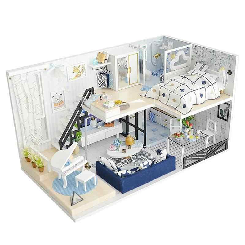 1 ชุด DIY Cabin อุ่น LED บ้านไม้รุ่นของขวัญของเล่นงานศิลปะสำหรับเด็กสถาปัตยกรรม DIY House