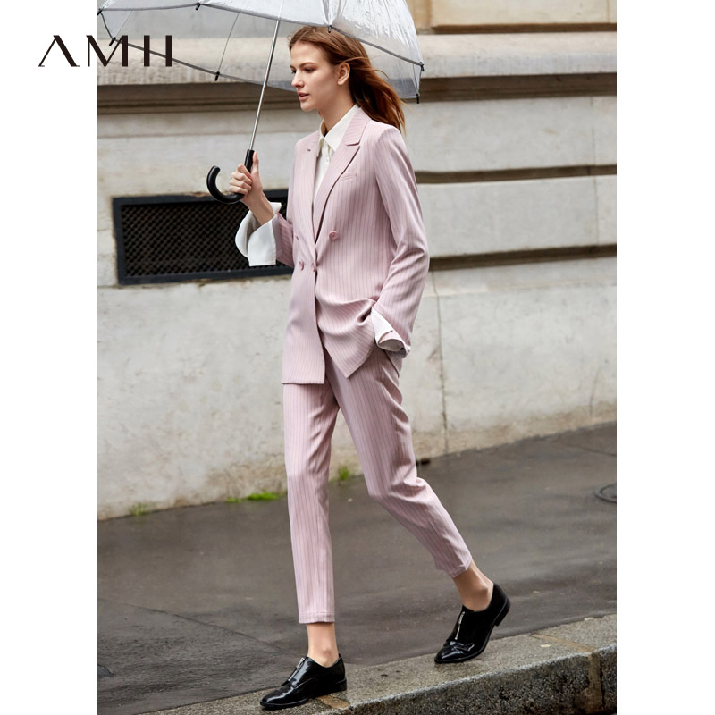 Amii Office Lady Two Piece Set Spring Women Long Sleeve Striped Blazer High Waist Pants 11930016