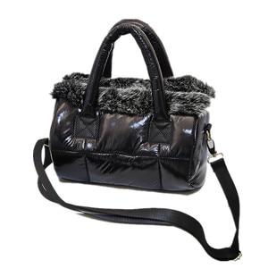 Image 2 - Para baixo saco de inverno 2020 nova bolsa feminina espaço algodão saco de pele de coelho bolsa de ombro mensageiro saco de luxo bolsas de grife