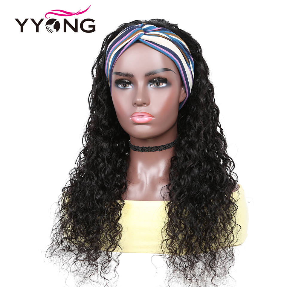 New Release YYong Water Wave Headband  Wigs With Scarf  Hair Headband Wig Glueless Wig 8-24inch Can Be Colored 1