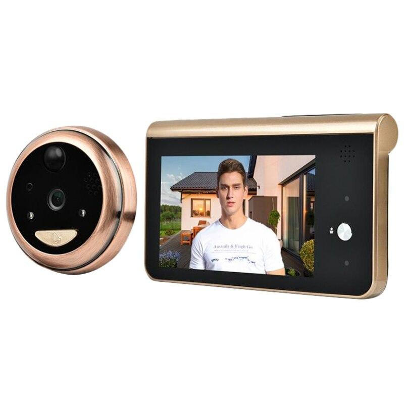 4.3 pouces moniteur vidéo judas Wifi sonnette caméra PIR détection de mouvement sans fil interphone porte cloche appel