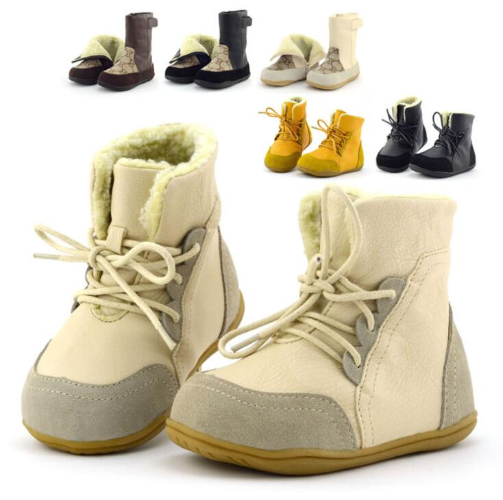 Winter New Thick Cotton Shoes Men And Women Genuine Leather Barefoot Baby Snow Boots Warm Plus Velvet Boots