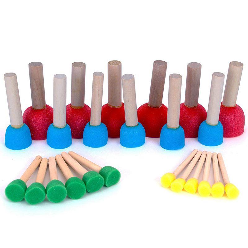 Foam Pouncer Assortment-Sponge Painting Stippler Set 24/pkg-Foam Brush Value Pack-6(1/2 Inch),6(3/4 Inch),6(1-3/16 Inch)6(1-3/4