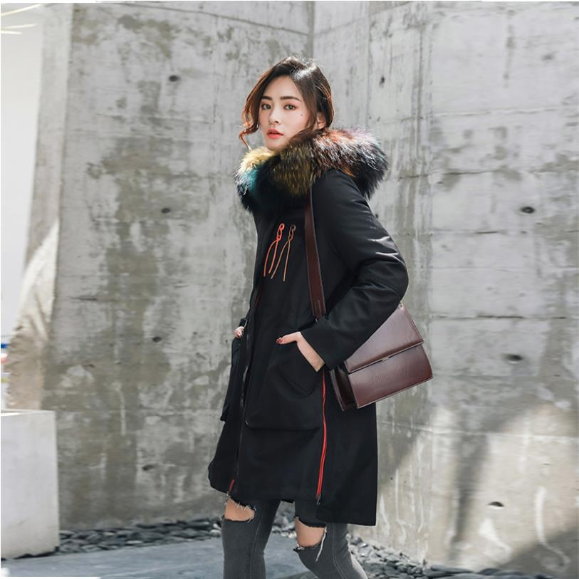 Winter Fashion Brand Big Real Fur Collar Hooded Real Down Parkas Coat Female Longer Plus Size Thicker Warm Jackets Outerwear