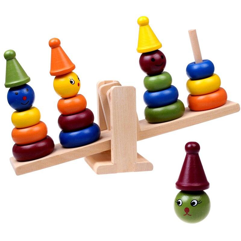 Early Educational Wooden Clown Balance Stacker Board Kids Toy 6A