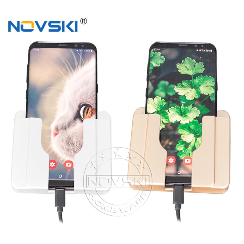 Wall Mount Univeral Mobile Phone Charging  Holder USB Wall Socket Adhersive Charger Adapter Plug Outlet Paste Holder